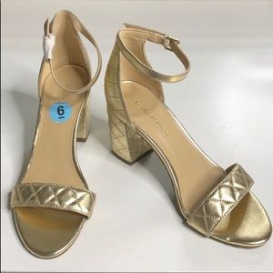 Marc Fisher Gold Quilted Ankle Strap Heels